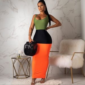 COMING SOON! Color Blocked Sleeveless Maxi Dress
